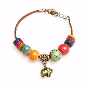 Beautiful Glass & Wood Bead Boho Elephant Bracelet